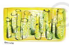 Bubbels gemaakt door Rotmeid. Rotmeid is een Delftse kunstenaar en maakt haar illustraties digitaal. Ze schildert als het ware op een beeldscherm.