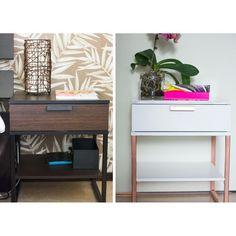 DIY'd nightstand. Ikea hacks, TRYSIL from Ikea. #diy #nightstand #marble…