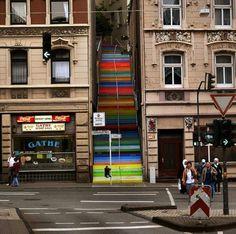 Rainbow stairs.
