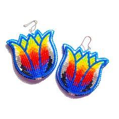 Image of Vivid Feathers Beaded Earrings