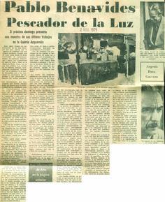 Pablo Benavides, pescador de la luz  Publicado el 2 de noviembre de 1971