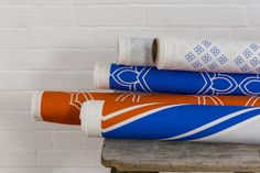 Furnishing Fabrics by Bhavin Taylor Home: digitally printed to order in the UK, the fabrics are suitable for soft furnishing and upholstery. cotton and machine washable, the range starts from per metre. New Product, Product Launch, Beating The Blues, New Launch, Soft Furnishings, Bold Colors, Order Prints, Tea Towels, Wool Rug