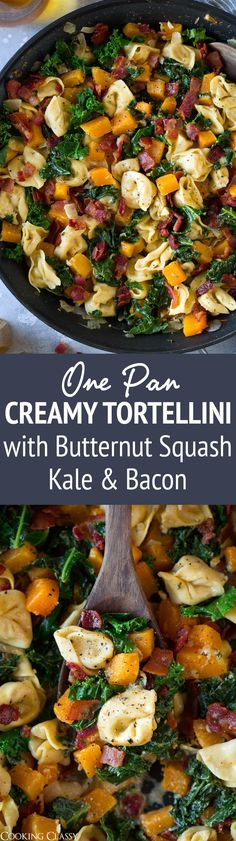 One Pan Creamy Tortellini with Butternut Squash Kale and Bacon - This is the perfect fall tortellini dinner! Deliciously creamy and cheesy with an amazing flavor combination. So hearty and so satisfying! #tortellini #butternutsquash #kale #bacon #skillet #recipe via @cookingclassy