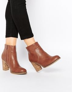 Oasis Block Heel Boot With Stitching Detail