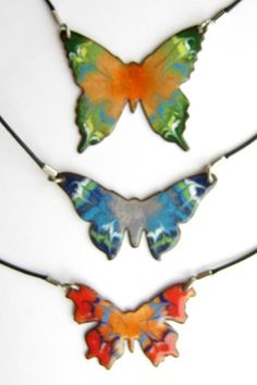 Blue Butterfly Necklace Handmade copper enamel by FireWorksCopper: