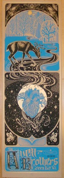 2013 Avett Brothers - Green Bay Concert Poster by David Hale at JoJo's Posters  http://www.jojosposters.com/collections/the-avett-brothers/products/2013-avett-brothers-green-bay-concert-poster-by-david-hale
