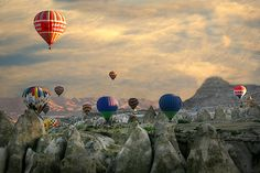 Balloon rise with sunrise in Cappadocia