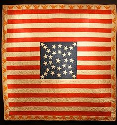 Americana flag quilt - as pillow? Old Quilts, Antique Quilts, Vintage Quilts, Star Quilts, Flag Quilt, Patriotic Quilts, Quilt Of Valor, Antique Show, Old Glory