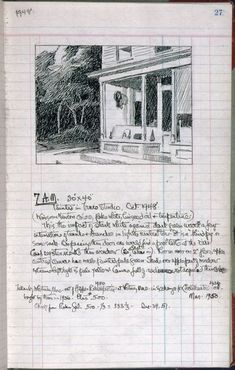 Edward Hopper, page 27 from Artist's ledger—Book III, 1924–67. From the Whitney Museum of American Art, NYC.