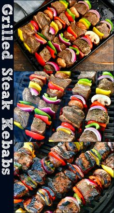These grilled steak kebabs are easy, super flavorful, and juicy made with a delicious steak marinade and vegetables. This is an easy but very flavorful steak marinade and it gives the kebabs a ton of flavor. #recipes #steaks #kebabs #beef #steak #marinade #steakmarinade