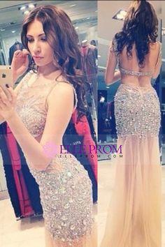 2015 Hot Scoop Prom Dresses Mermaid Tulle Fully Beaded Bodice