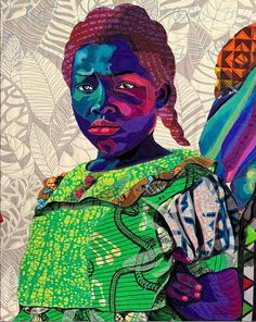 Mama's child; a detail shot from Dear Mama, 2019 ***there is no paint on this artwork *** Cotton, silk, wool and velvet x African American Artist, American Artists, African Art, Jaybird Quilts, American Quilt, Black Artists, Modern Artists, Textile Artists, Tribal Art