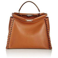 Fendi Women's Peekaboo Satchel (281.480 RUB) ❤ liked on Polyvore featuring bags, handbags, brown, flat purse, brown satchel handbag, brown handbags, orange satchel handbag and fendi purse