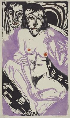 "Ernst Ludwig Kirchner, Self-Portrait with Erna, 1922.  MFA, Boston.  Kirchner (1880–1938) was a German expressionist painter and printmaker and one of the founders of the artists group Die Brücke or ""The Bridge"", a key group leading to the foundation of Expressionism in 20th-century art. He volunteered for army service in the First World War, but soon suffered a breakdown and was discharged. In 1933, his work was branded as ""degenerate"" by the Nazis and in 1937 over 600 of"