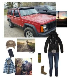"""""""Went on a ride with Georgia"""" by kansascountrygirl ❤ liked on Polyvore featuring Caterpillar, Under Armour, Realtree, Frame, Hollister Co., L.L.Bean and Justin Boots"""