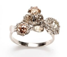 Julia deVille Ring: My Three Engagements, 2012 White Gold, Cognac Diamonds