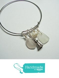 Sea Glass Bangle Cuff Bracelet-Adjustable-Stackable-Pale Lavender and Winter White Seaglass-Charms - Customize-Free US Shipping from Spirit of the Sea http://www.amazon.com/dp/B017AC4NLM/ref=hnd_sw_r_pi_dp_HZKvwb1Q18EB7 #handmadeatamazon