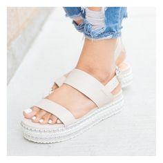 Beige Studded Platform Sandals