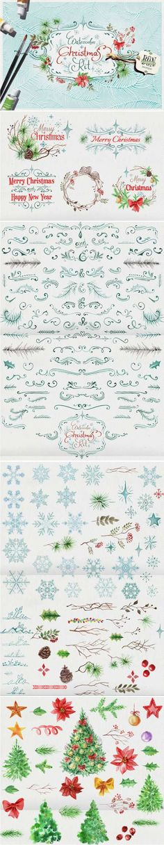 Watercolor christmas set - 410342