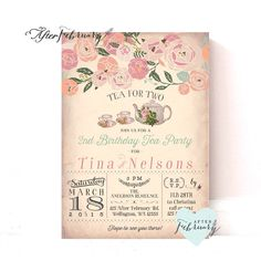 Joint Birthday Tea Party Invitation // Tea for Two Invitation // Vintage Peach Background // Tea Party Invite // Printable No.888 by AfterFebruary on Etsy https://www.etsy.com/listing/228219784/joint-birthday-tea-party-invitation-tea