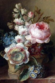 """Still Life With Flowers"" oil on Canvas by Cornelis van Spaendonck"