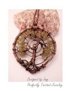 Wire Wrapped Tree of Life Pendant Necklace, Peridot Gemstone Bonsai, Handmade, Antiqued Copper, Wire Tree Jewelry, August Birthstone
