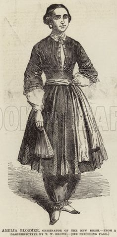 Amelia Bloomer, Originator of the New Dress. Illustration for The Illustrated London News, 27 September 1851.