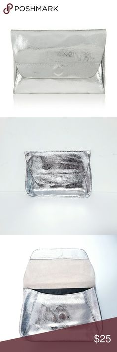 "Grace Crackle Leather Silver Clutch NWOT - 9 1/2 x 6 3/4"" Brand: Accessorize UK Silver Crackle Leather  Magnetic Snap Closure Black Cotton Lining Inside Zipper Pocket Accessorize Bags Clutches & Wristlets"