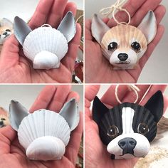 hair paint DIY Seashell Crafts-Paint your own seashell dog ornament!hair paint DIY Seashell Crafts-Paint your own seashell dog ornament! - CraftsPaint diy own dog your Gnome with Lantern / Seashell Painting, Seashell Art, Painting On Shells, Seashell Ornaments, Stone Painting, Dog Christmas Ornaments, Christmas Dog, Christmas Crafts, Halloween Crafts For Kids