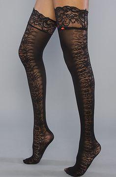 Black The Vintage Vines Thigh High Sock