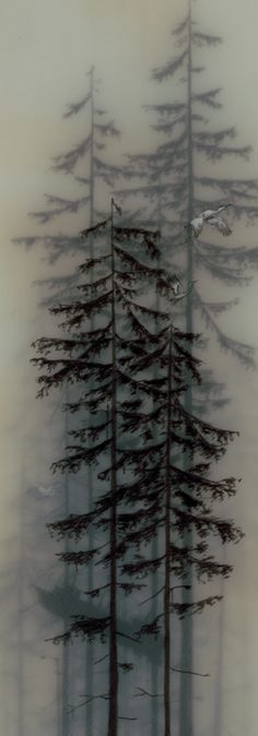 Encaustic Art, Brooks Salzwedel, Artist, Flight and Sail, 2006 - Kunst Online, All Nature, Nature Tree, Encaustic Painting, Land Art, Belle Photo, Mists, Illustration, Art Photography
