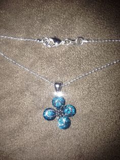 """S80 Silver Flower Pendant w/  Light Blue Crystals 22"""" Ball Necklace Valentines  #Unbranded #Pendant"""