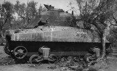 M4 Sherman tank named Buck Private detracked France 1944