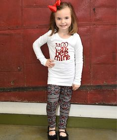 Another great find on #zulily! White 'Bee Mine' Long-Sleeve Tee & Leggings - Toddler & Girls #zulilyfinds