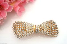 Beautiful Gold Tone Crystal Bow Design Barrette Hair Clip Grip Bridal 10 cm