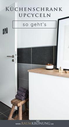 Badezimmer umgestalten für unter 700 € und eine Upcycling Idee eines   Küchenschranks. Raumkrönung - Interiorblog, Wohnberatung &   Einrichtungstipps #upcycling #badezimmer #umgestalten Home Staging, Hygge, Upcycle, Bathtub, Interior, Inspiration, Super, German, Decorating Ideas