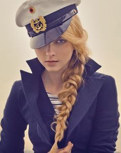 Sailor braid.  I want this hat and this hair for the nautical party!!