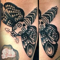 American traditional Death's Head Moth by Evie Yapelli.