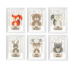6 in 1 SET Cross Stitch Pattern with Woodland Baby animals. Bear, Fox, Bunny, Deer, Raccoon, Owl. I