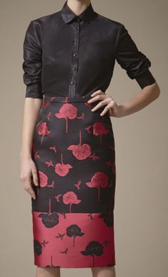 Carolina Herrara Pre-Fall 2014 | fab reverse pattern play  this skirt... love love the pattern