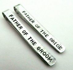 Dad Gifts — Father of the Bride and Groom Personalized Tie Clips (set of 2)