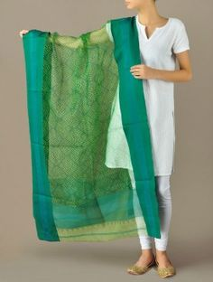 Green Geometric Illusion Maheshwari-Cotton Silk Dupatta