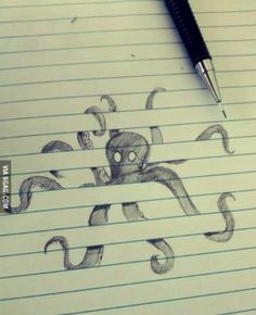 Crazy cool octopus drawing sketch on binder paper, black and white