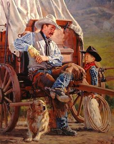 Cowboy école par Phil Beck Oil ~ 30 x 24 Westerns, Gauguin, Cowboy Pictures, Cowboy Art, Western Cowboy, West Art, Le Far West, Country Art, Mountain Man