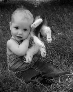 BABY AND KITTEN! One End Is As Good As The Other!! So Cute!!