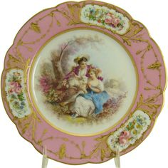 Early Porcelain Hand-Painted Scenic Plate - 1840's from dtrantiques on Ruby Lane