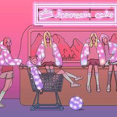 Red Velvet Japan Illustration, Art Sketches, Art Drawings, Neon Girl, Velvet Wallpaper, Sketch Painting, Illustrations And Posters, Aesthetic Art, Red Velvet