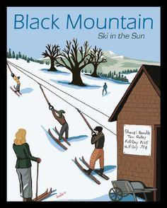 Black mountain. Ski in the Sun. #ski #retro #vintage