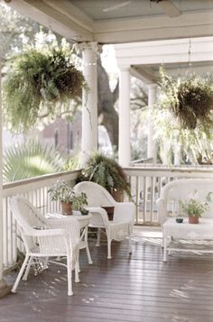 Front porch, with white wicker furniture! Outdoor Rooms, Outdoor Living, Outdoor Furniture Sets, White Wicker Patio Furniture, White Porch, Gazebos, Cottage Porch, White Cottage, Cozy Cottage