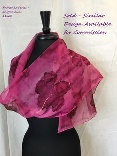 Natrishka Hibiscus Series 11 x 60 Silk Chiffon Hand Painted Scarf in Magenta with Gold Accents.  SOLD.  Should you like this design, I can paint a similar version, never the same since they are all originals.